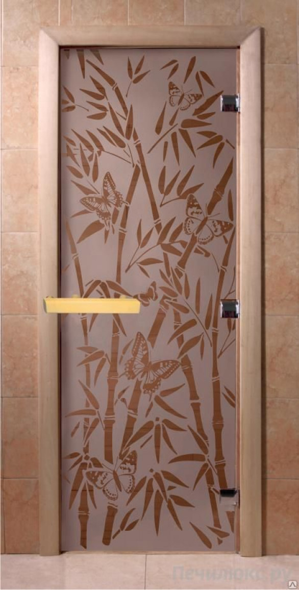 "Дверь сатин ""Бамбук, бабочки"""