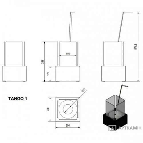 Биокамин TANGO1 CZARNY