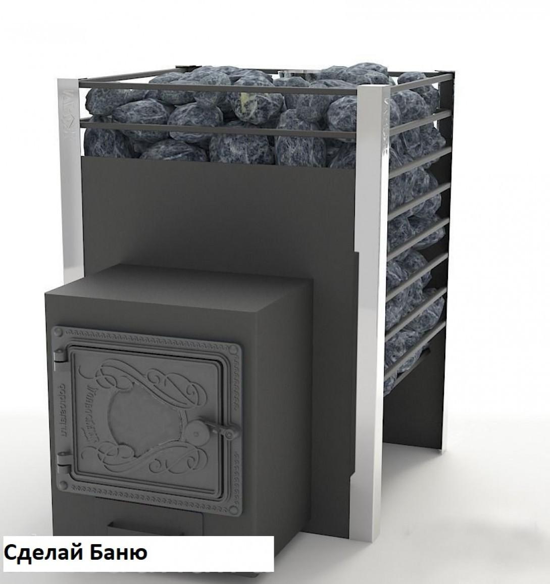 ЖАРА Печь банная ЖАРА-ЛЮКС 20 с закрытой каменкой и воронкой, со стандартной топочной дверцей